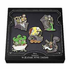 Disney Tim Burton's The Nightmare Before Christmas Collector Pin Set With Custom Keepsake Box