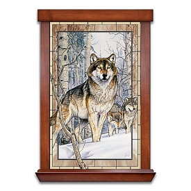 Al Agnew Majestic View Self-Illuminating Wolf-Themed Stained-Glass Wall Decor With Cherry-Finish Wooden Frame