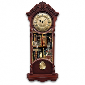 Charles Wysocki Frederick The Literate Cat Grandfather-Style Wooden Wall Clock