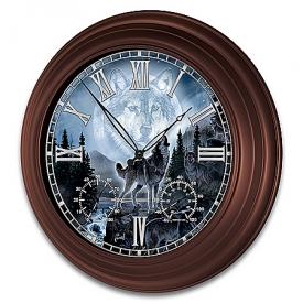 Al Agnew Majestic Presence Wolf-Themed Outdoor Illuminated Atomic Wall Clock