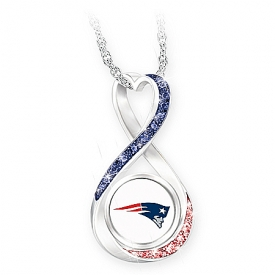 New England Patriots Forever Women's NFL Sterling Silver-Plated Infinity Pendant Necklace