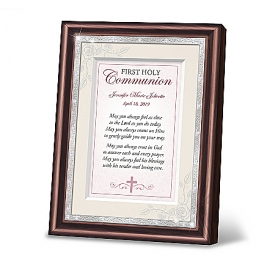 First Holy Communion Personalized Pink Prayer Frame