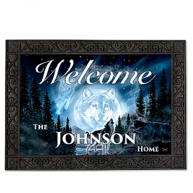 Al Agnew Call Of The Wilderness Wolf-Themed Personalized Non-Slip Outdoor Welcome Mat