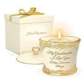 My Granddaughter, I Love You Forever 22K Gold-Accented Candleholder With Heart-Motif Filigree