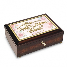 A Mother's Love Is Forever Personalized Mahogany-Finished Keepsake Music Box With Poem Card