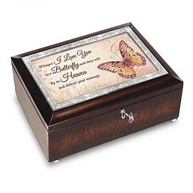 Wings Of Hope Butterfly-Themed Heirloom Music Box Lined In Black Velvet