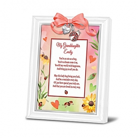 Granddaughter, You're Cute As A Bug Personalized Poem Frame With Classic White-Finished Frame & Charms