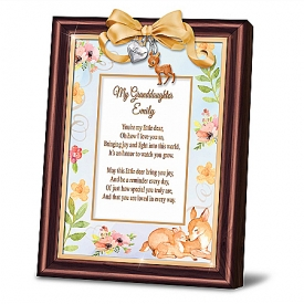 Granddaughter, You're My Little Deer Personalized Poem Frame With Classic Walnut-Finished Frame & Charms