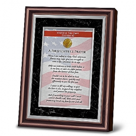 A Firefighter's Prayer Personalized Religious Poem With Mahogany-Finished Frame