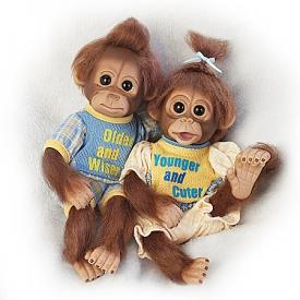 Older Wiser, Younger Cuter Lifelike Monkey Doll Set