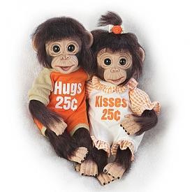 Hugs And Kisses Lifelike Monkey Doll Set
