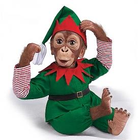 Jolly The Holiday Elf Lifelike Monkey Doll