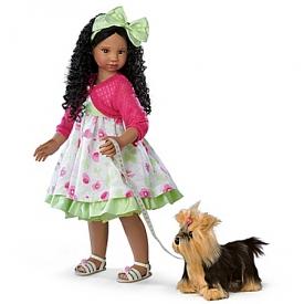 Kayla's Sunday Stroll Poseable Lifelike Child Girl Doll With Yorkie Plush