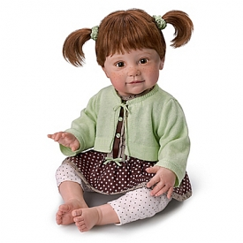 Ping Lau Weighted Lifelike Girl Child Doll With Freckles