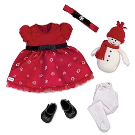 Holiday Celebration Red Dress Baby Doll Accessory Set