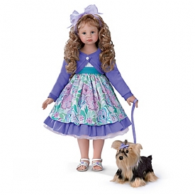 Leah And Sadie Handcrafted Child Doll And Plush Dog Set