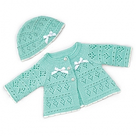 Knit Sweater And Hat Baby Doll Accessory Set