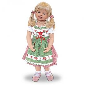 Louisa Lifelike Child Doll Wearing An Authentic Bavarian Costume