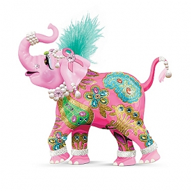 Breast Cancer Support Elephant Figurine: Reach High For Hope