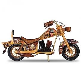 John Wayne Handcrafted Wooden Motorcycle Sculpture