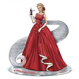 A Timeless Reflection With COCA-COLA Hand-Painted Figurine With Crystalline Swirl & Mirrored Base