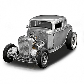 1:18-Scale 1932 Ford 5-Window Hammered-Steel Deuce Coupe Diecast Car