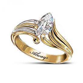 Always Crystal Teardrop Ring: Inspirational Bereavement Jewelry Gift