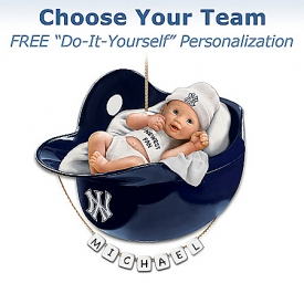 Officially Licensed Major League Baseball Personalized Baby's First Christmas Ornament