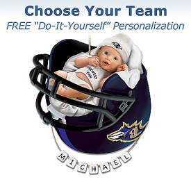 Officially Licensed NFL Personalized Baby's First Christmas Ornament