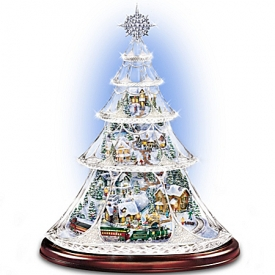 Thomas Kinkade Animated Crystal Tabletop Christmas Tree: Holiday Reflections