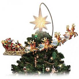 Thomas Kinkade Holidays in Motion Rotating Illuminated Tree Topper: Animated Christmas Decor