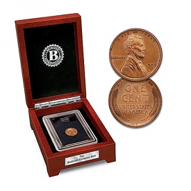 1909 VDB Lincoln Penny Coin With Wooden Display Box