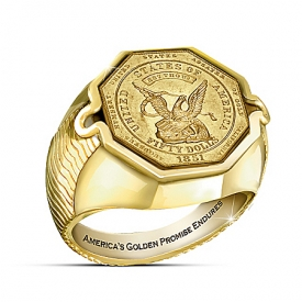 $50 California Gold Rush Coin 24K Gold-Plated Ring