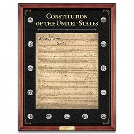 The U.S. Constitution Commemorative Tribute Wall Decor With Custom-Crafted Wooden Frame