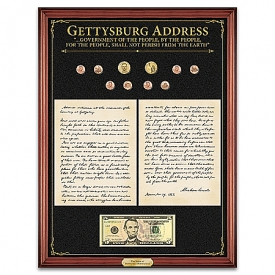 The Gettysburg Address: Voice Of Democracy Wall Decor With Mahogany Finished Wooden Frame