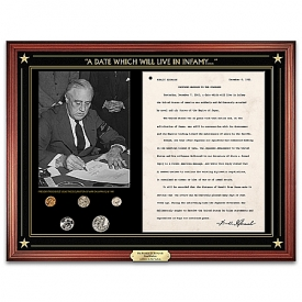 The Franklin D. Roosevelt Pearl Harbor Address To The Nation Wall Decor With 1941-Dated U.S. Mint Coin Set