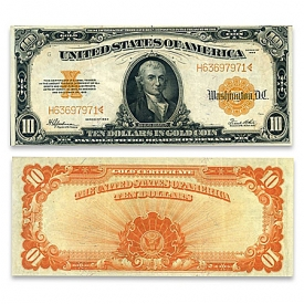 1922 U.S. Issued $10 Gold Certificate Horse Blanket – Michael Hillegas Note Currency