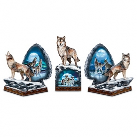 Light-Up Sacred Wilderness Wolf Bookends Collection