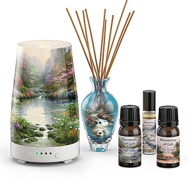 Thomas Kinkade Inspired Harmony Of Life Essential Oils Collection With Diffuser