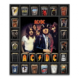 AC/DC Album Covers Shot Glass Collection With Custom Wooden Display Case