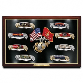 USMC: Semper Fi Forged Steel Pocket Knife Collection With Custom Illuminated Display Case