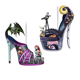 Disney Tim Burton's The Nightmare Before Christmas Delightfully Frightful Handcrafted Shoe Ornament Collection