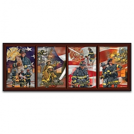 Answering The Call Firefighter Panorama Framed Collector Plate Collection