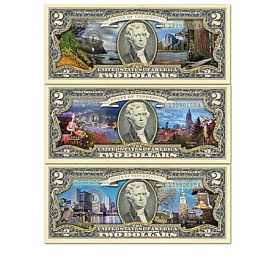The All-New U.S. $2 Statehood Bills Currency Collection With Display Box