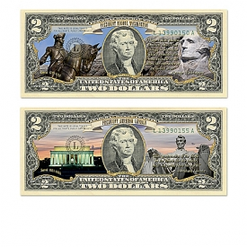 All-New U.S. $2 Full-Color Presidential Bill Currency Collection With Custom Display Box