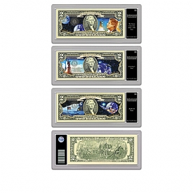 All-New U.S. Space Race $2 Dollar Bills Currency Collection With Display Box