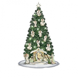 Emerald Elegance Pre-Lit Christmas Tree Nativity Scene Collection With Angel Ornaments And Figurines