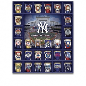 New York Yankees Legacy Of Champions Shot Glass Collection With Custom Wooden Display Case