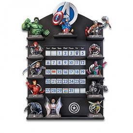 MARVEL Avengers Fully Sculpted Perpetual Calendar Collection With Custom Wooden Display