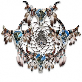 James Meger Moonlight Guardians Wolf-Themed Glow-In-The-Dark Dreamcatcher Wall Decor Collection
